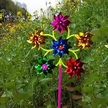 Новые детские игрушки 6 колеса красочные пластиковые блестки ветряная мельница Whirligig ветер Спиннер домашний дворовый садовый декор подарки