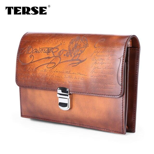 TERSE China Factory Manufacturer Men Clutch Bag Handmade Genuine Leather Bag  Business Wrist Bag Blue Orange Color Dropshipping dc7c375741f0e