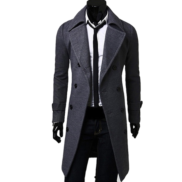 2017 Casual Winter Mens Slim Stylish Trench Coat Double Breasted Long Jacket Thick Wool & Blends Plus Size 4XL Overcoat Tops