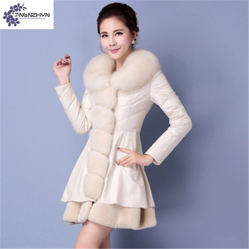 TNLNZHYN Women clothing Cotton coat winter fashion Big yards thicken warm  Long sleeve fur collar female ... 6261f3431