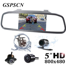 GSPSCN 5 inch Car Rearview Mirror Monitor Auto Parking HD Vedio + LED Night Vision Reverse Camera CCD Car Truck Rear View Camera