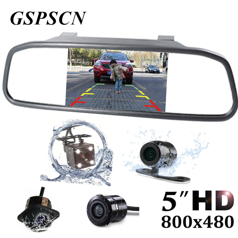 GSPSCN 5 inch Car Rearview Mirror Monitor Auto Parking HD Vedio + LED Night Vision Reverse Camera CCD Car Truck Rear View Camera car hd video auto parking monitor led night vision reversing ccd car rear view camera with 4 3 inch car rearview mirror monitor