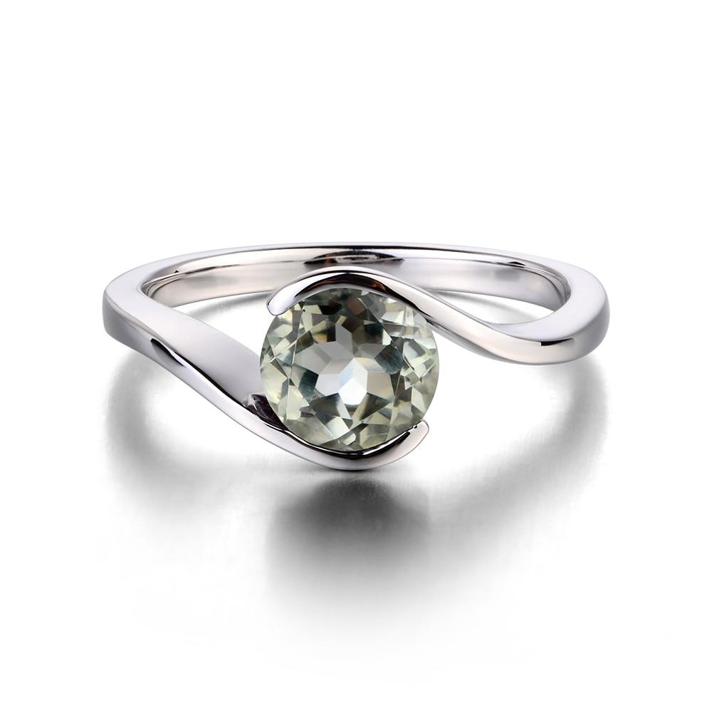 Leigeเครื่องประดับ1.25ctแท้สีเขียวAmethyst 925แหวนเงินพลอยรอบตัดแหวนหมั้นแหวนสัญญาของขวัญสำหรับเธอ-ใน ห่วง จาก อัญมณีและเครื่องประดับ บน   2