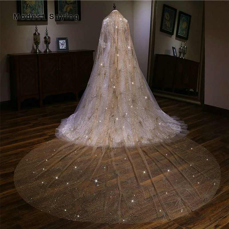 High Quality Gold Luxury Bling 3.5M Wedding Veils 2018 Fashion With Comb Bronzing Cathedral Bridal Veils Wedding Accessories