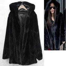 B Winter Autumn Women Hooded Faux Fur Coat Fashion Warm Long-sleeved Loose Black Female Flocking Cotton Jacket
