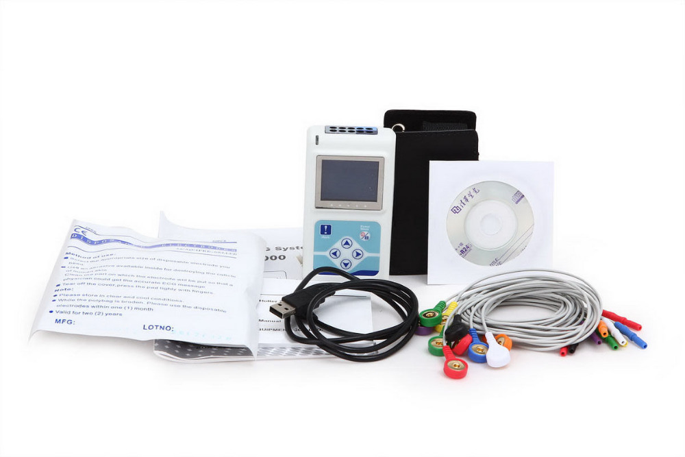 Free Ship CONTEC FDA&CE TLC5000 12-Channel Holter ECG/EKG Machine Sync Software Analyze System btl cardiopoint holter h100