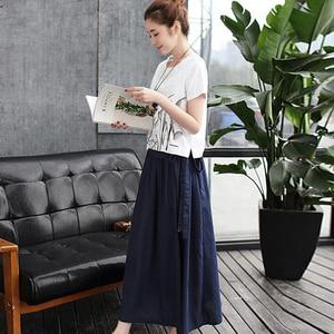 Image 2 - 2020 Summer Women Set Skirt Suit White print Cotton linen Tees Top Loose  Female Two Piece set (T Shirt+Skirt) womens clothing
