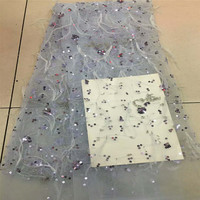 African Lace Fabric 2018 High Quality Lace 3D Sequin Lace Fabric Beautiful French Tulle Lace For Nigerian Wedding Dress H405 2