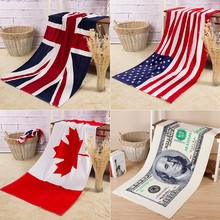 Creative National Flag Print Bath Beach Towel Euro Dollar Adult Towel Microfiber Quick Dry Towel Toallas Serviette de Plage