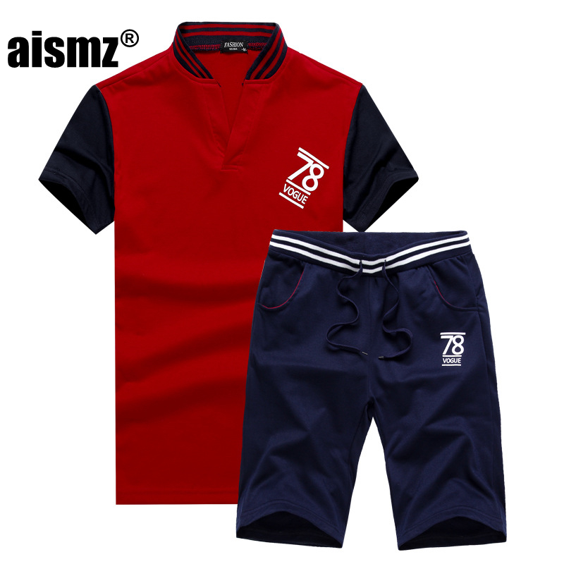 Aismz New Fashion Sportsuit and Tee Shirt Set Mens T Shirt Shorts + Short Pants Men Summer Tracksuit Men Casual Brand Tee Shirts