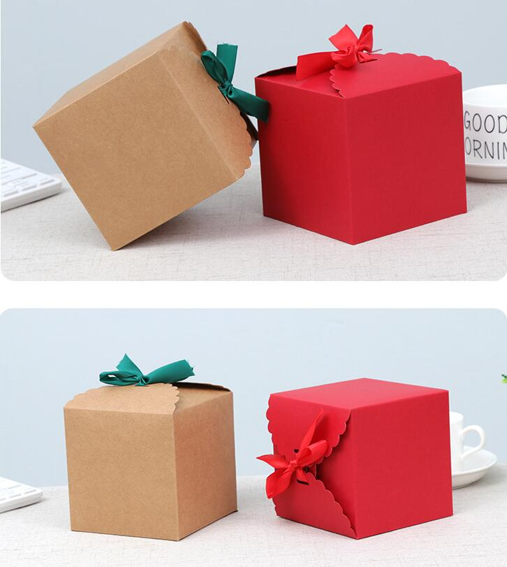 Sweet-Tempered Yu 12.7 10 Stks 11*11*11 Cm Kraftpapier Snoep Verpakking Rood, Kleine Gift Bruiloft Gunst Doos Met Lint, Vierkante Kubus Papier Doos
