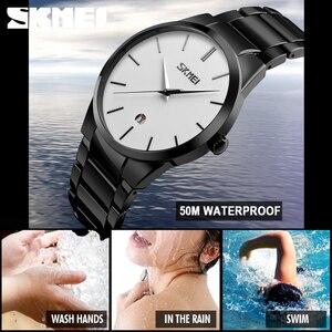 Image 5 - SKMEI montres de luxe pour hommes montres à Quartz Ultra minces 5Bar bracelet en acier inoxydable minimaliste étanche Reloj Hombre