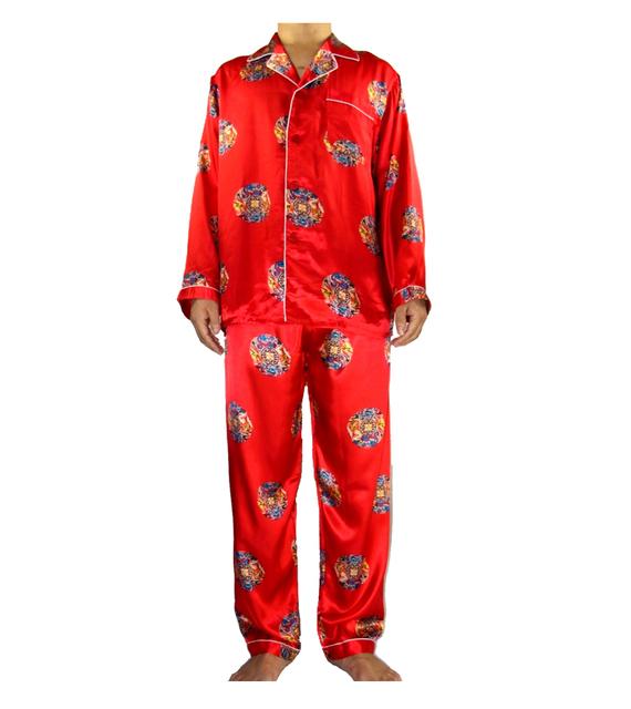 Otoño nuevos hombres rojos conjunto pijama de seda chino tradicional traje 2 unids ropa de dormir baño vestido de gran tamaño sml XL XXL XXXL SM011