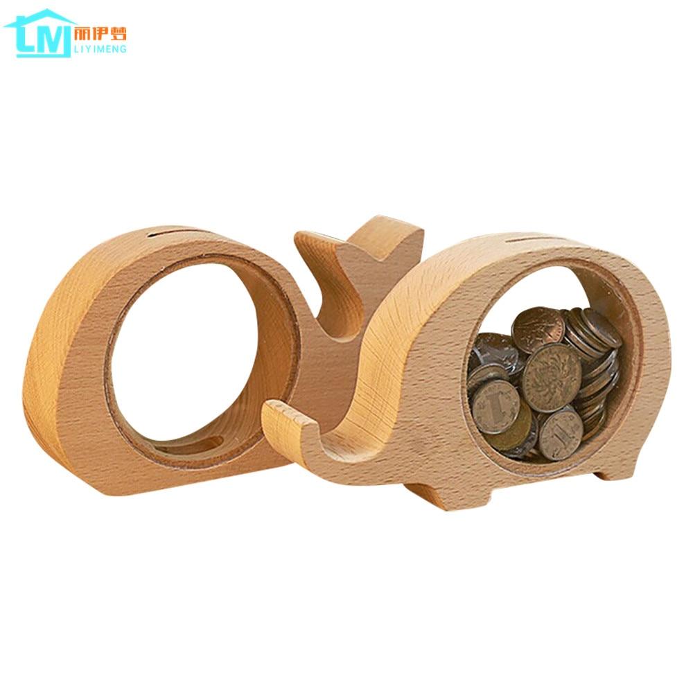 Liyimeng piggy bank wooden money box acrylic storage for Home money box