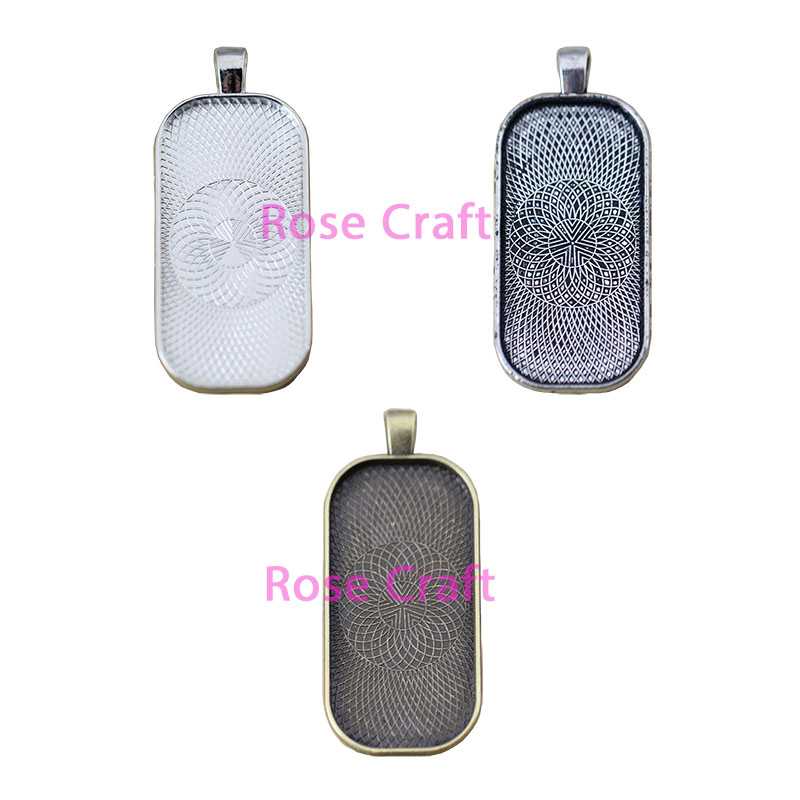 25X50mm rectan pendant trays key chains with glass domes in your choice of color