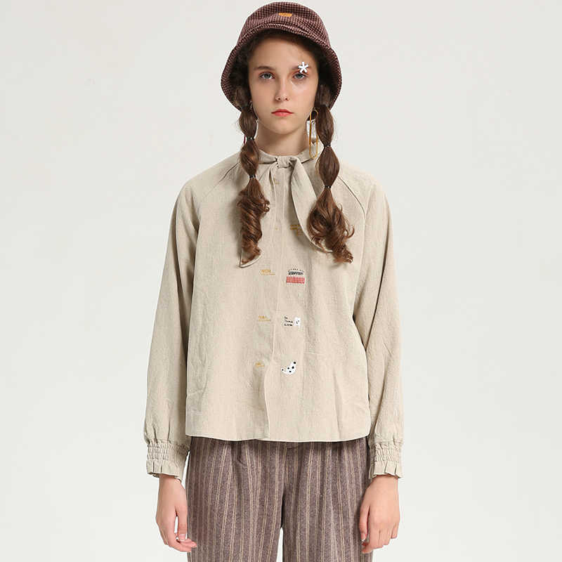 bdf932690c9 Корейский для женщин бархат толще рубашка короткая блузка женская одежда с длинным  рукавом Лук письмо вышивка