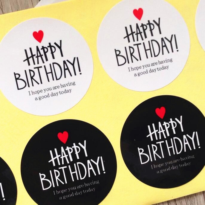 80pcs  Black & White HAPPY BIRTHDAY series Adhesive Kraft Seal Sticker for Baking Gift Label Stickers Funny DIY Work card kraft postcards handmade 3d pop up musical greeting cards happy birthday paper with envelope gift message card for girl