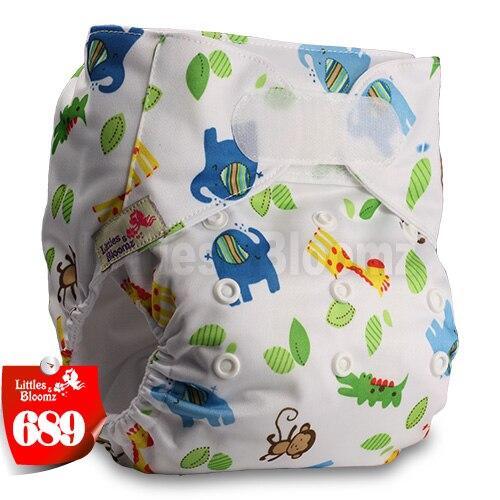 [Littles&Bloomz] Один размер многоразовые тканевые подгузники Моющиеся Водонепроницаемые Детские карманные подгузники стандартная застежка на липучке - Цвет: 689