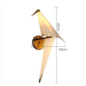 Image 4 - IKVVT LED kuş tasarım duvar lambası başucu lambası yaratıcı Origami kağıt vinç duvar lambası Loft yatak odası çalışma fuaye yemek odası