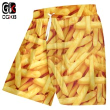 OGKB Casual Shorts Men Fashion Gyms 3D Printed French Fries Chips Hiphop Big Size Clothing Hombre Summer Short Jogger Dropship(China)