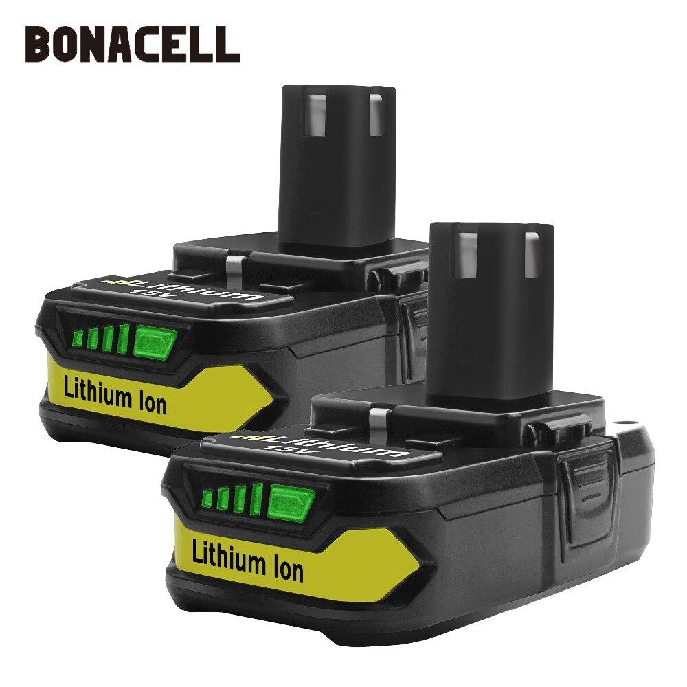 Bonacell 18V 2500mAh Bateria de Substituição para Ryobi P107 P104 P105 P102 P103 P107 L30 Bateria Li-ion Sem Fio