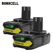 Bonacell 18V 2500mAh P107 Battery Replacement for Ryobi P104 P105 P102 P103 P107 Cordless Li-ion Battery L30 18v 2500mah li ion replacement battery for ryobi rb18l25 one plus for p103 p104 p105 p108 with p117 12 18v charger