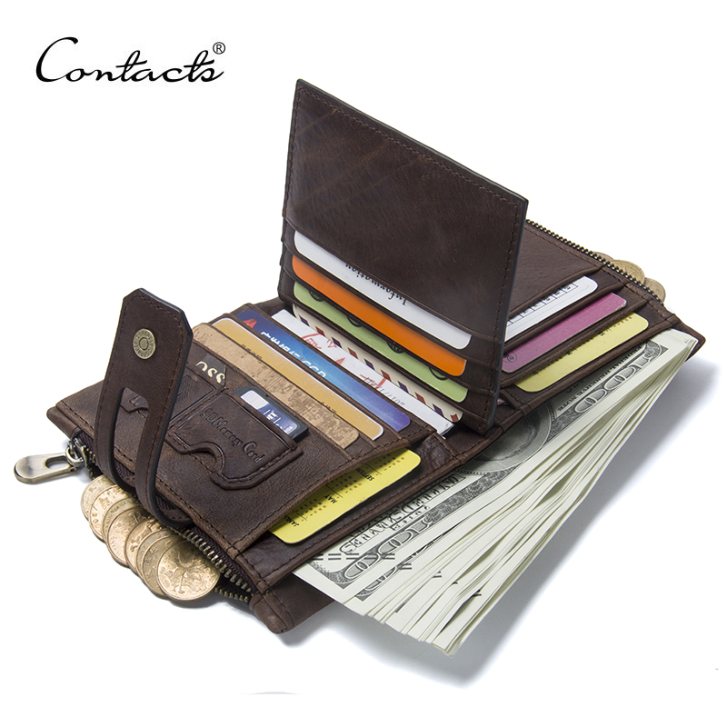 CONTACT'S Genuine Crazy Horse Leather Mens Wallet Man