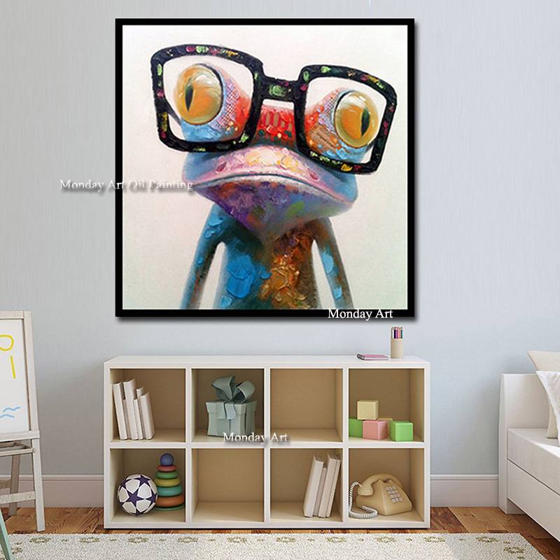 Hand Painted Acrylic Canvas Oil Paintings Colorful Frog with Big Glasses Funny Kid's Room Decor Modern Abstract Animal Wall Art