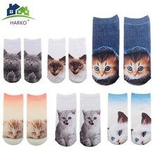 HARKO New 3D Printed Socks Casual Meias Cute Calcetines Harajuku Funny Cat Socks Unisex Low Cut
