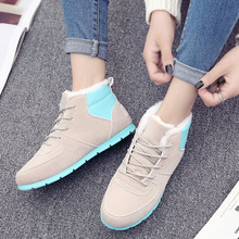 Boots Women Snow Boots Ankle Sneakers 2018 Winter Flat Faux Suede Fur Boots Fashion Lace-up Casual Shoes Woman High Quality jingkubu luminous women sneakers women snow boots fur winter led light ankle boots high top usb charge casual shoes woman size41