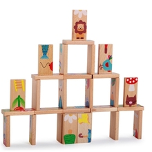 28pcs/Set Montessori Baby Kids Animals Domino Building Blocks Cartoon Wooden Blocks Intelligence Toy for Children math toys mamimamihome baby wooden detachable chute car multi layer track scooter montessori toys for children building blocks