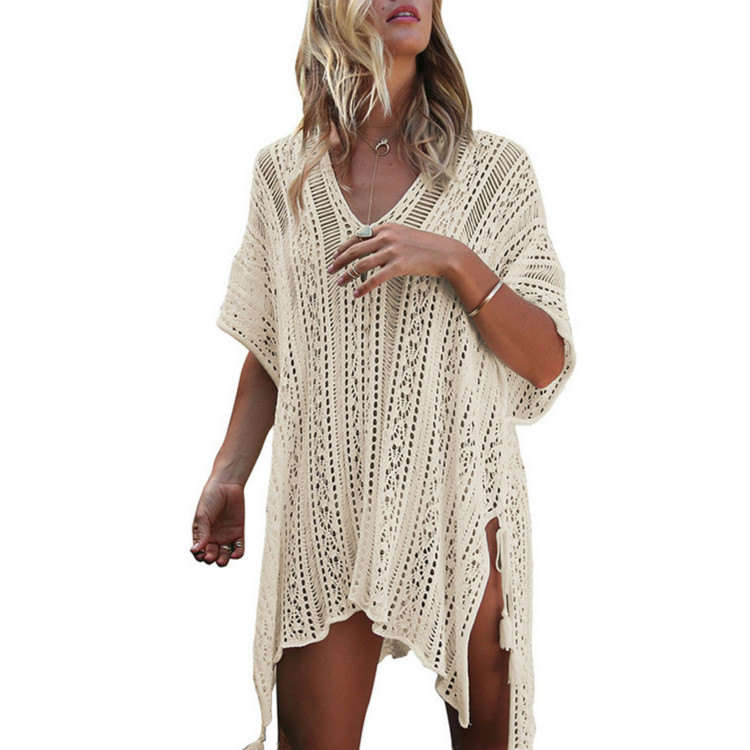 SAKKUS 2017 Sexy Beach Cover Up Crochet White Swimwear Dress Tunic Ladies Bathing Suit Cover Ups Tunic Saida De Praia Pareo 4