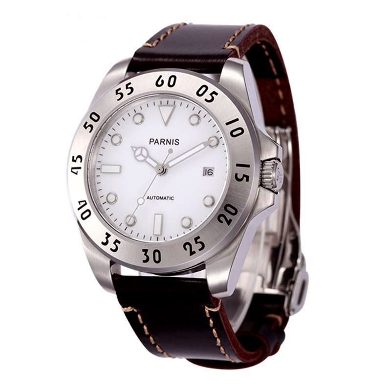 Romantic Sweet gifts 43mm parnis White Dial Luminous Marks Sapphire Crystal 21 jewels Miyota Automatic Mechanical Men's Watch romantic sweet gifts 43mm parnis white dial luminous marks sapphire crystal 21 jewels miyota automatic mechanical men s watch