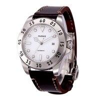 Romantische Zoete Geschenken 43 Mm Parnis Witte Wijzerplaat Luminous Marks Sapphire Crystal 21 Juwelen Miyota Automatische Mechanische Mannen Horloge
