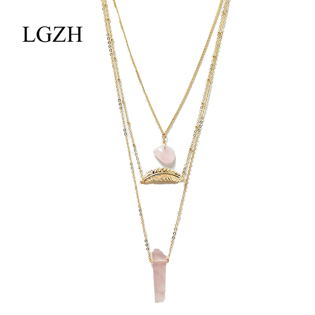 Lgzh fashion 3 layer pink natural stone pendant necklace gold color lgzh fashion 3 layer pink natural stone pendant necklace gold color leaf multilayer sweater chain necklace aloadofball Gallery
