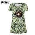 Forudesigns mujeres dress 3d dólar cat prints manga corta dress dress plus vestidos de fiesta divertido vestido de tirantes de las señoras ocasionales diarios