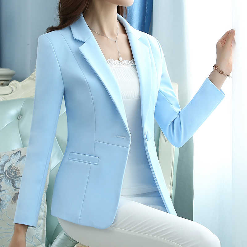Single Button Plus Size 5XL Elegant Business Lady Jacket Women Full Sleeve Work Blazer Female Casual Coat Four Color Available