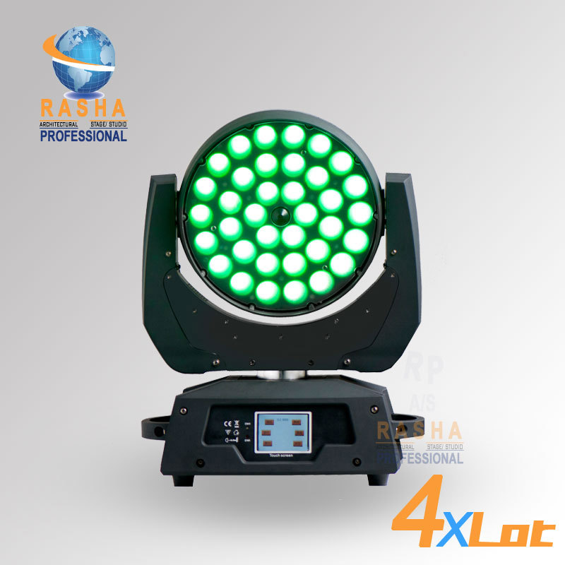 4pcs/LOT Rasha 36pcs*18W 6in1 RGBAW+UV Zoom LED Moving Head Wash With Touch Screen LCD Diplay,DMX IN&Out, Powercon 110 240V