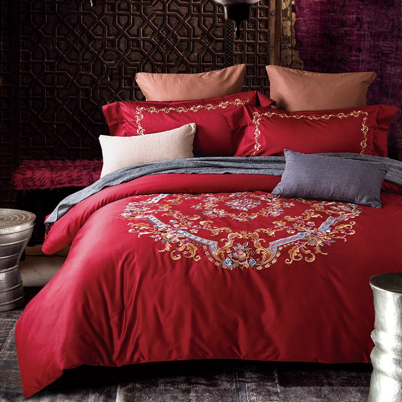 100 egyptian cotton red home textile embroider flower bedding set bed sheetduvet - 100 Egyptian Cotton Sheets