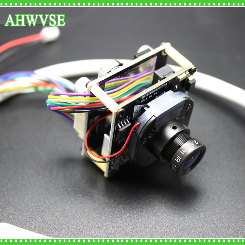 AHWVSE Multi-langue 2MP Mini Dôme PoE IP Caméra Réseau Module Full HD 1080 P avec LAN Câble