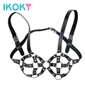 IKOKY Open Bra SM PU Leather Sex Toys for Couple Role Play Adult Games Sexy Bondage Lingerie Restraint Bondage Erotic Toys