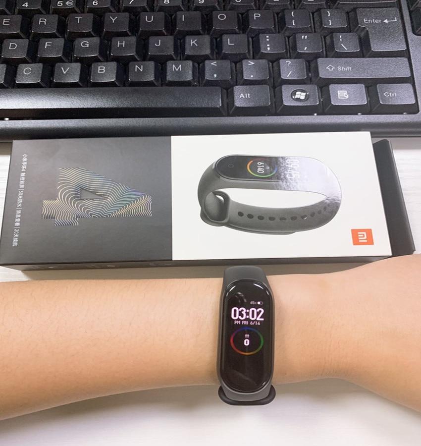 Image 3 - Оригинальный Xiaomi mi Band 4 сердечного ритма фитнес цветной сенсорный экран mi band 4 умный Браслет 135 мАч Bluetooth 5,0 браслет музыка-in Смарт-браслеты from Бытовая электроника