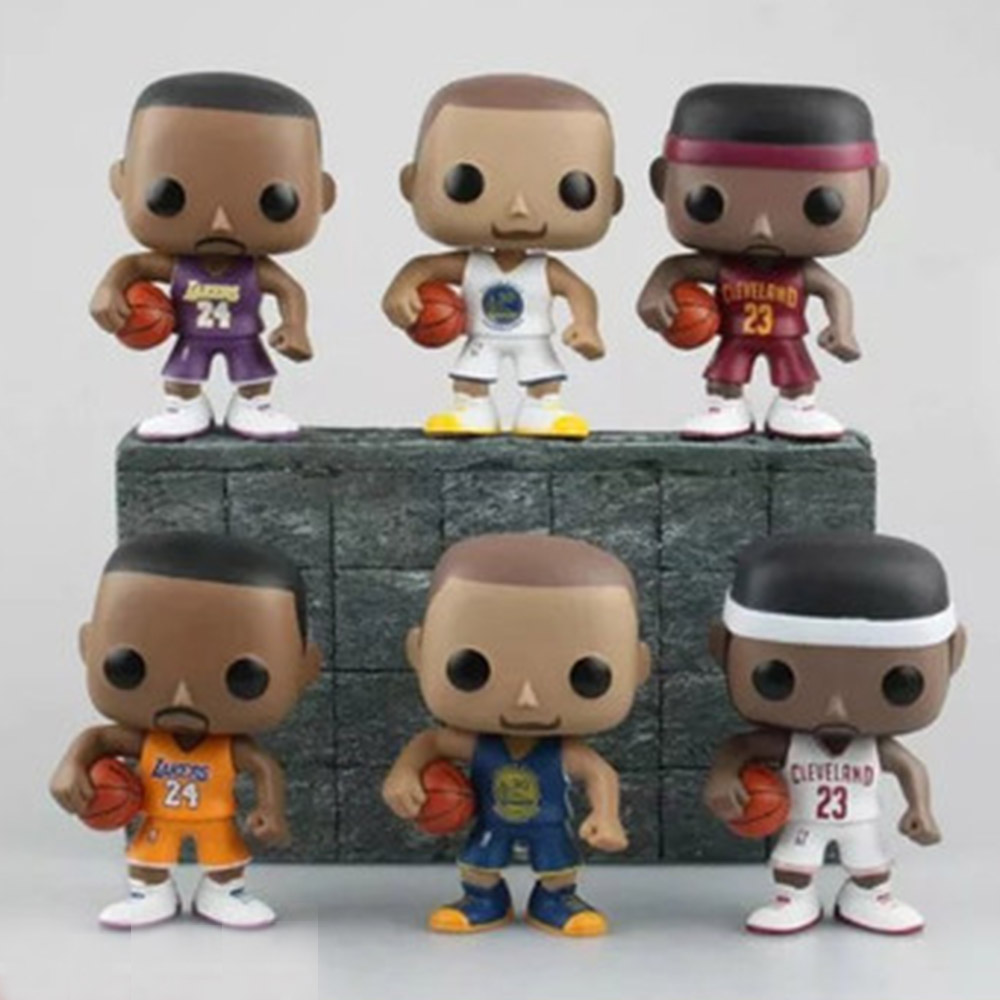 Novetrend 9cm NBA Basketball Sports Star Q Version Doll Kobe Bryant LeBron James Stephen Curry Model Toys PVC Action Figures lebron james backpack stephen curry school bag for super star fans daypack