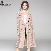 Lace Thin Coats 2017 Autumn New Fashion Turn Down Collar Vintage Hollow Out Adjustable Waist Blue