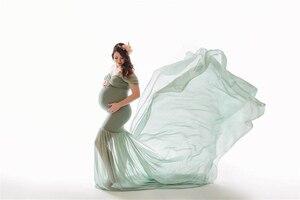 Image 3 - 2019 مثير ملابس للحمل التصوير الدعائم قبالة الكتف المرأة فستان الحمل للصور اطلاق النار جديد الذيل ماكسي ثوب الأمومة