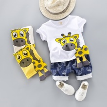 2019 Summer Baby Boys Girls Short Clothing Sets Infant Toddler Clothes Suits Giraffe T Shirt Shorts Kids Children Casual Suit hot sale kids clothes sets summer suits baby boys clothes short sleeve polo shirt denim shorts casual children clothing 2 colors
