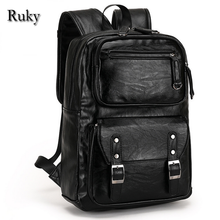 Casual High Capacity Quality Men Business Backpacks 2016 Fashion High Grade Leather Designer Men's Schoolbag Travel Laptop Bag