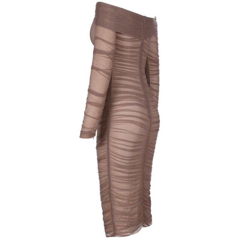 Cerf dame été Bandage robe rayonne 2019 célébrité robes de fête élégant Bandage robes sans bretelles moulante Sexy gland robe - 4