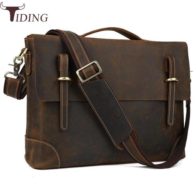Tiding Luxury Italian Cow Leather Mens Briefcase For 14 Inch Laptop Vintage Brand Shoulder Messenger Tote
