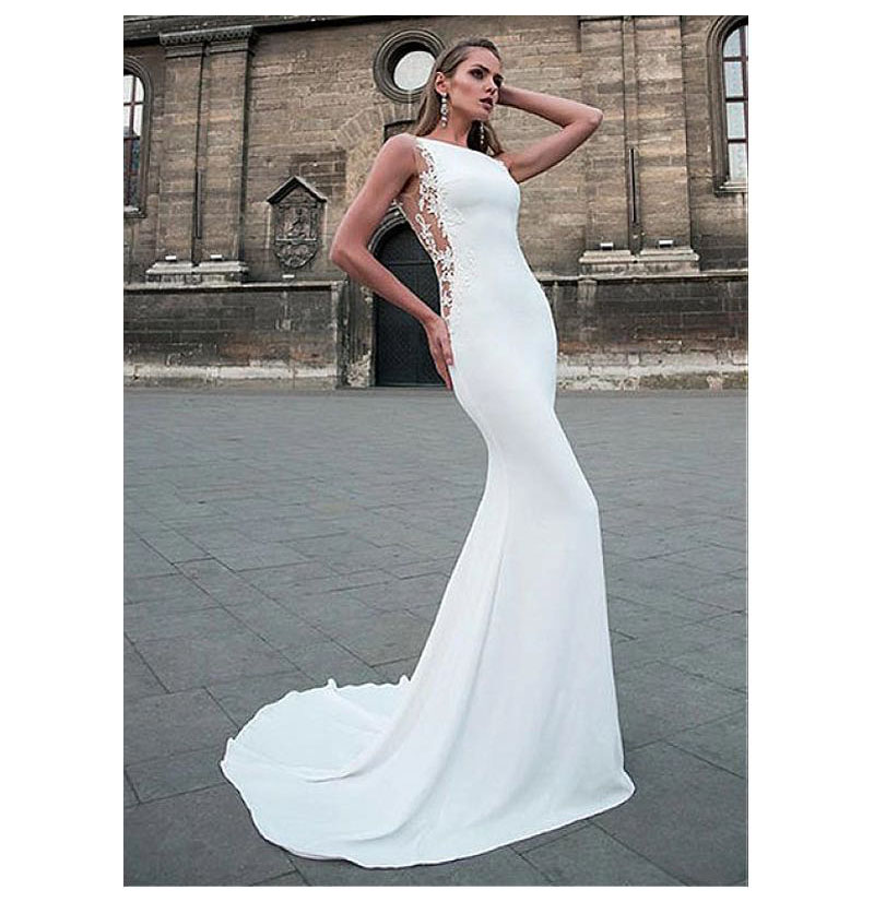 LORIE Wedding Dresses 2019 Mermaid Style Soft Satin Appliques Lace Beach Bride Dress Sexy Mermaid Wedding